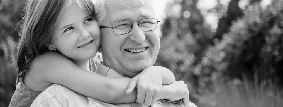 Hearing Aid Patient - With Grandpa (B&W)